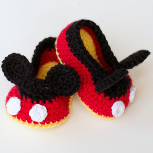 Mickey Mouse Inspired Baby Booties - Free Pattern