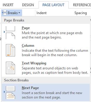 Page Layout Break