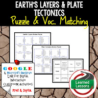 Earth's Layers, Plate Tectonics, Earth Science Review Puzzles BUNDLE, Interactive Digital Notebook, Google Link, or PRINT Version, Test Prep, Unit Review, Vocabulary Activity, Earth Science Puzzles, Vocabulary, Test Prep, Unit Review