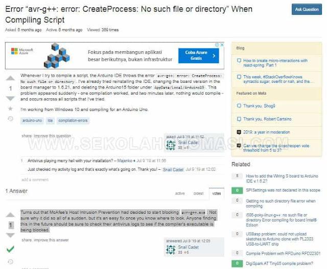 Solusi avr-g++: error: CreateProcess: No such file or directory di Arduino Nano