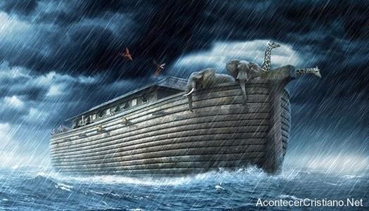 Arca de Noé con animales en el diluvio