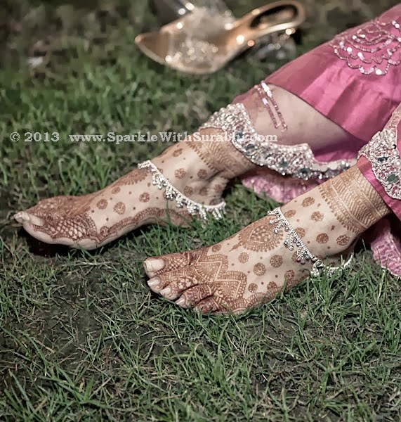 Silver Anklets With Mehendi