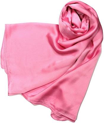 Long Plain Shiny Pink Satin Scarves