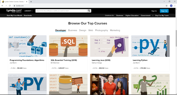In Learning Lynda Home Page