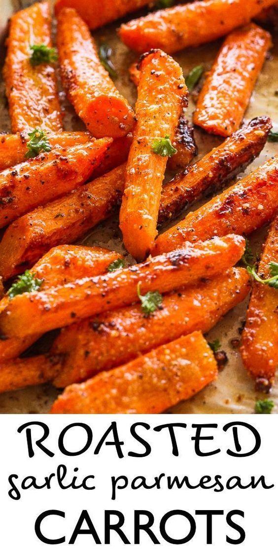 Amazing Roasted Garlic Parmesan Carrots