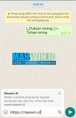 Cara terbaru membua tulisan miring pada whatsapp terbaru