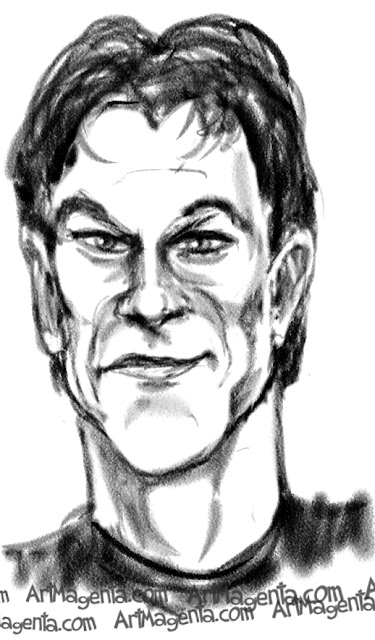 Patrick Swayze caricature cartoon. Portrait drawing by caricaturist Artmagenta