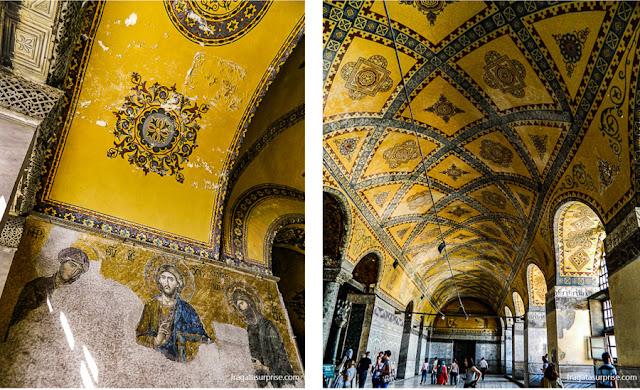 Decoração em motivos geométricos e mosaicos bizantinos na Basílica de Santa Sofia, Istambul