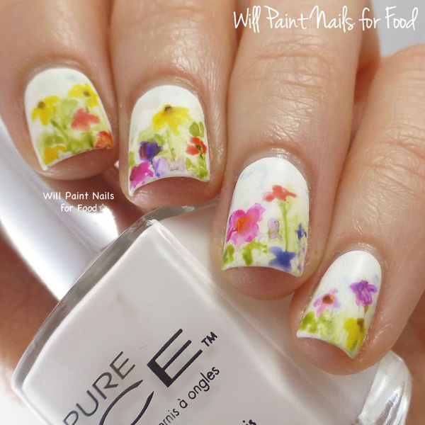 Watercolor Garden Themed Nail Art Paint Several Pretty Flowers On Your Nails In Style Use White As Background And Washed Out Colors For