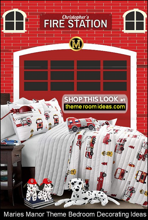Fire Station Engine mural Fireman Sam Wall Stickers Fire Truck Red & White quilt