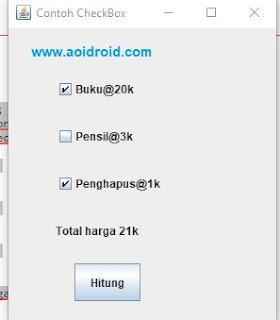 tes aplikasi total harga dengan checkbox java