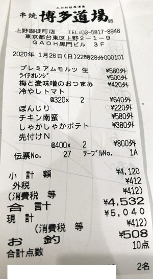 博多道場 上野御徒町店 2020/1/26 飲食のレシート