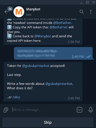memasukkan kode token botfather di manybot
