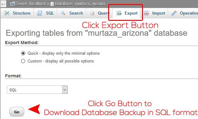 Exporting PhpMyAdmin Database using cPanel