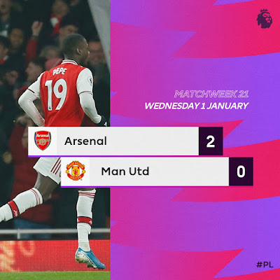 Mikel Arteta finally record his first win as Arsenal boss and he won with grand style against Man United which saw goals from Ivory Coast striker Nicolas Pepe and Greek player Sokratis to end 2-0.