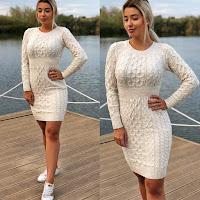 Rochie scurta de zi casual crem tricotata •