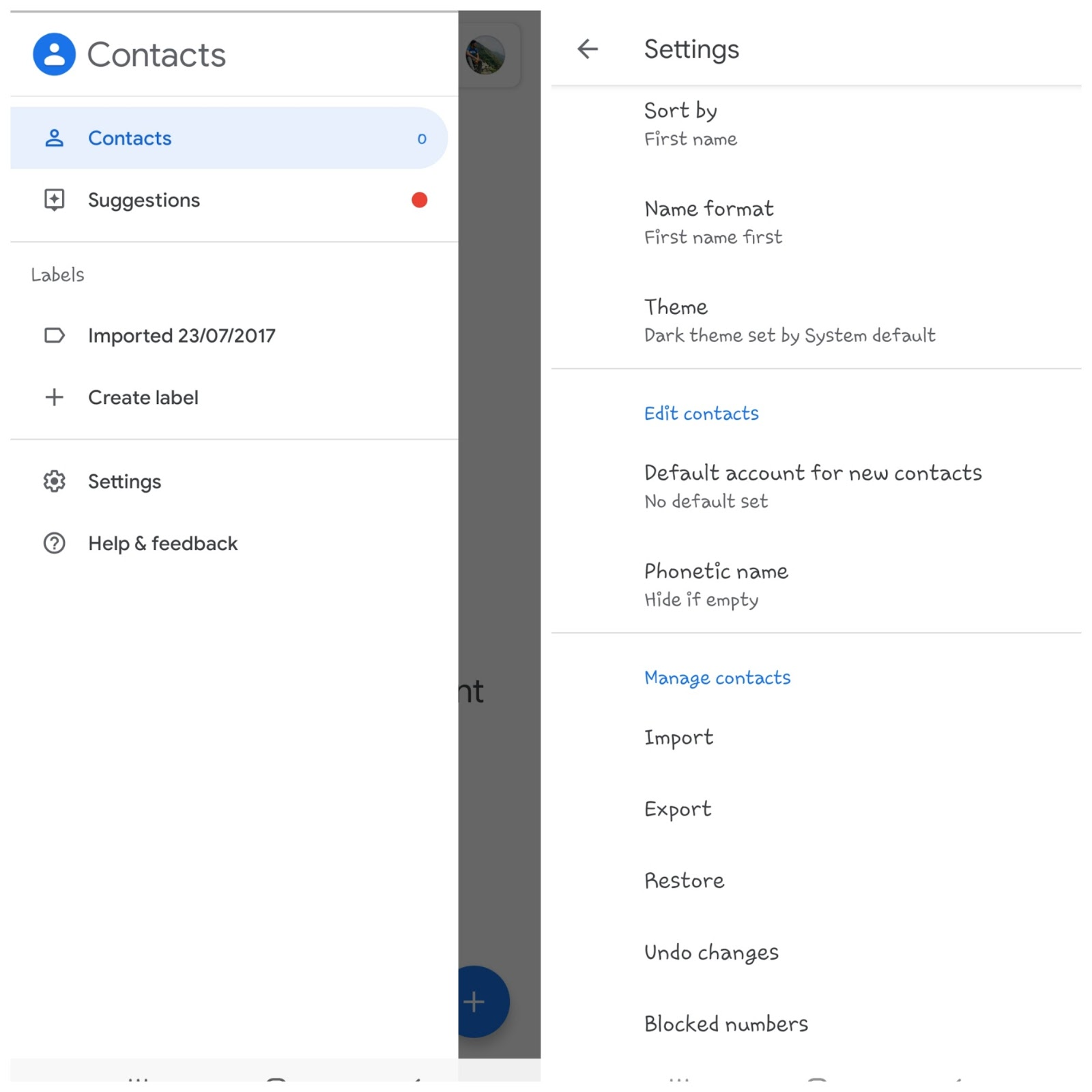 Google Contacts app - Export settings