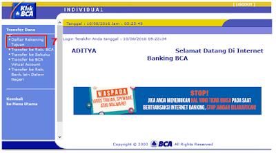 Cara Menambah Daftar Rekening Tujuan di KlikBCA / Internet Banking BCA - Halaman Menu Daftar Rekening Tujuan KlikBCA