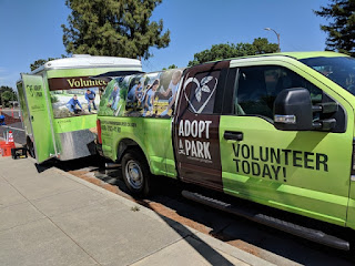 Adopt A Park truck and trailer, San Jose, California