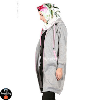 HJ12 Hijacket BASIC Grey x Baby Pink ORIGINAL PREMIUM FLEECE JAKET HIJAB JAKET MUSLIMAH