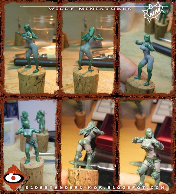 Proceso de esculpido de miniatura de Blood Bowl diseñada y esculpida por ªRU-MOR para El Equipo de Amazonas de WILLY Miniatures