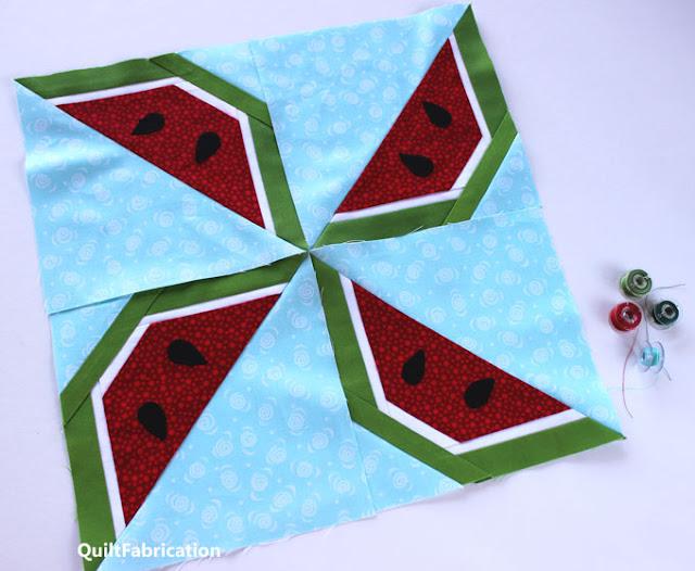 watermelon wedges in a pinwheel quilt block