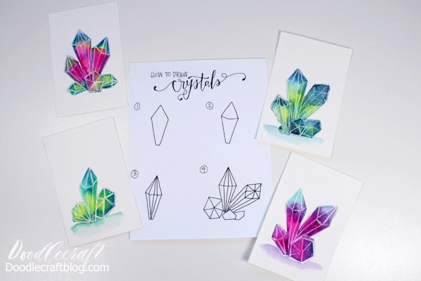 How to draw and paint watercolor galaxy crystal clusters.