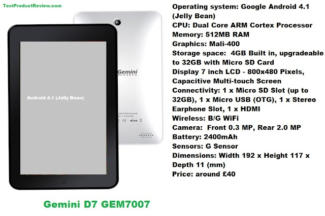 Gemini D7 GEM7007 tablet specs