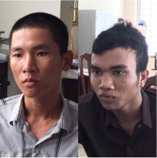 Lê Văn Thành (ảnh trái) và Dương Văn Dương khi bị bắt tại cơ quan công an.