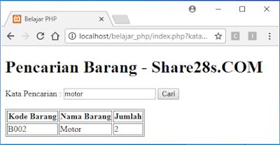 Coding Cari Data pada Tabel PHP Mysqli