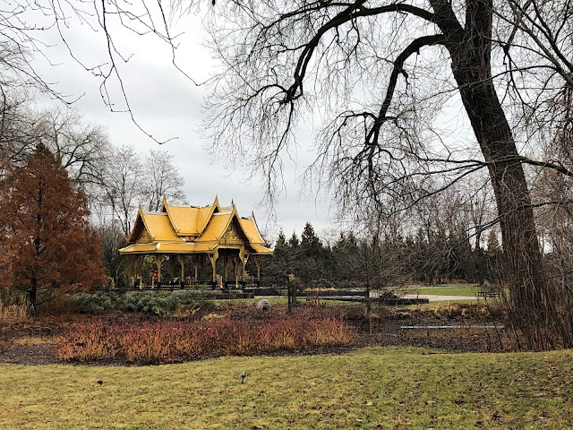 The Olbrich Botanical Gardens Thai Pavilion rises above the gardens in Madison, Wisconsin.