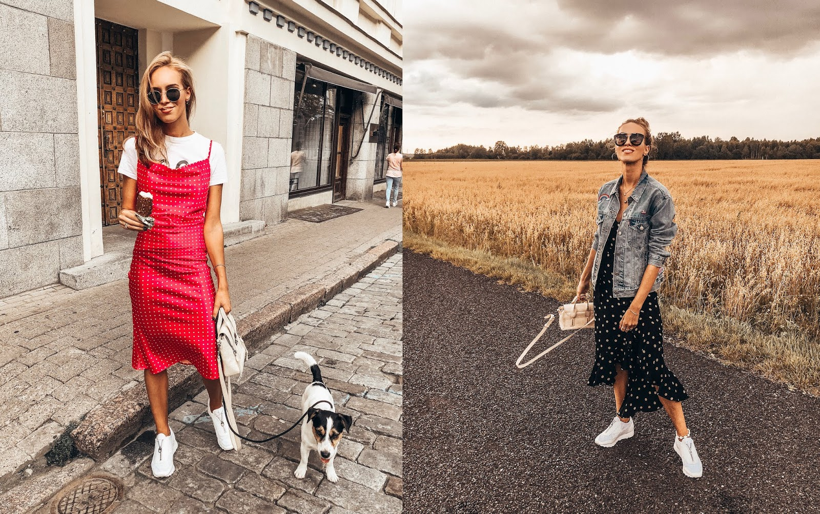 slip dress sneakers outfit summer street style