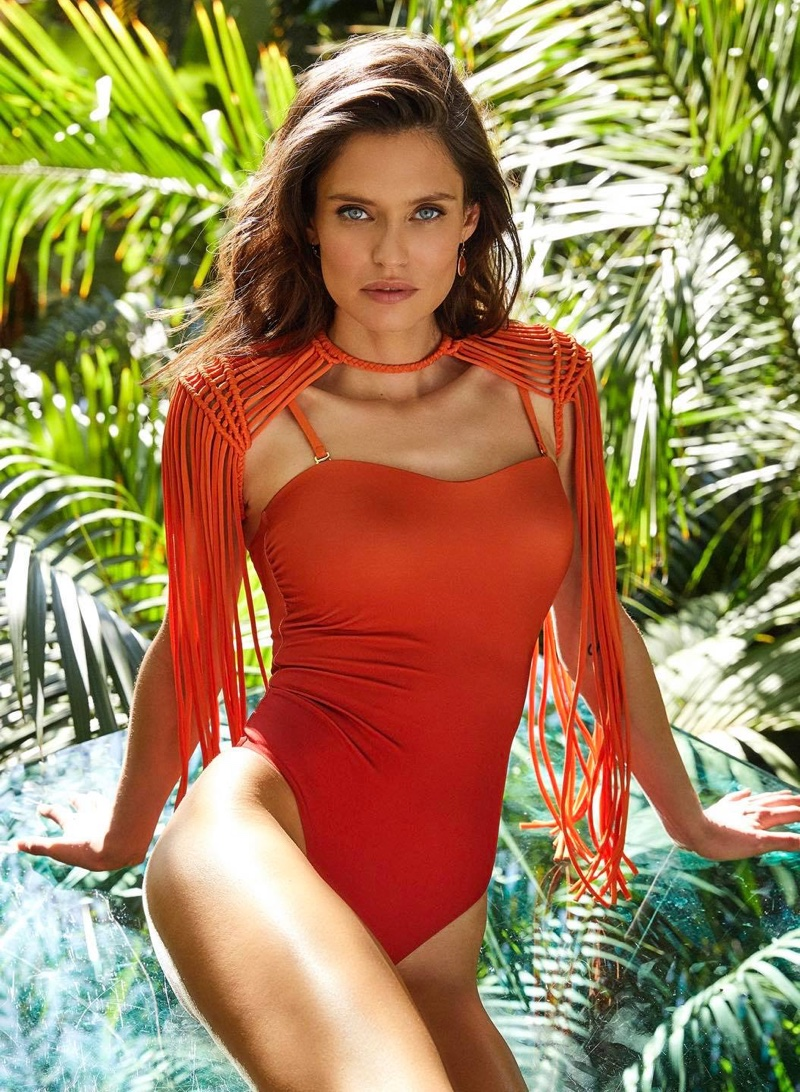 Bianca Balti wears a fringed swimsuit for Yamamay summer 2020 campaign.