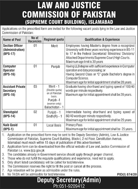 Supreme Court of Pakistan Jobs 2020