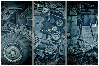 Blue Combine Harvester Art Photograph