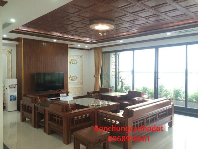 Penthouse - Phòng khách sang trọng Full gỗ tự nhiên