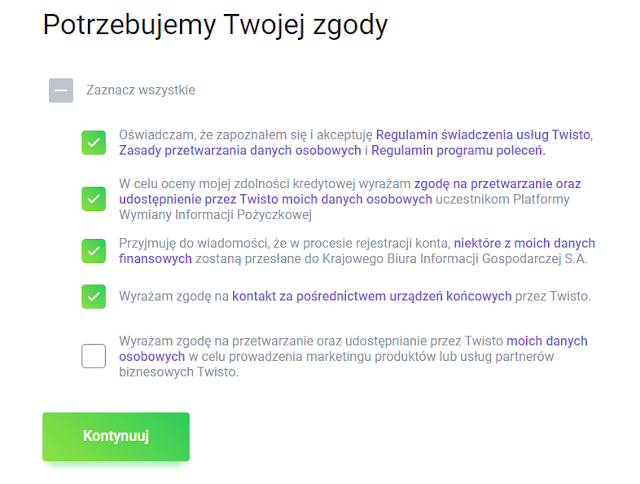 Wymagane zgody we wniosku o kartę Twisto