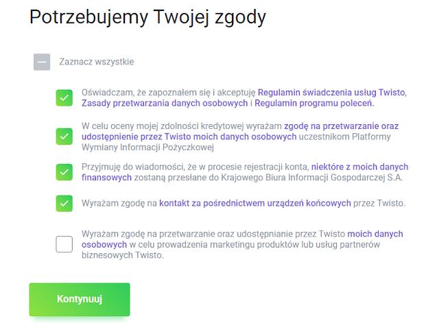 Zgody wymagane we wniosku o kartę Twisto z bonusem 50 zł