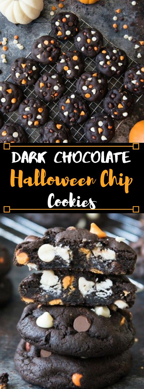 DARK CHOCOLATE HALLOWEEN CHIP COOKIES #healthydiet #halloween #chocolate #recipes #cookies