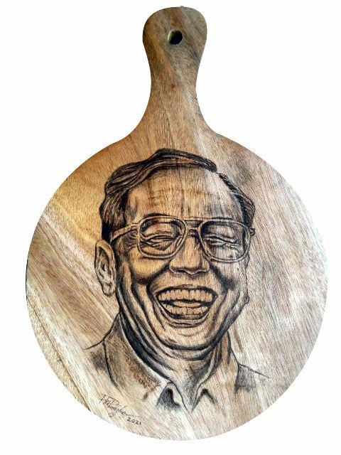 Pirografi Wajah Gus Dur - Tokoh Nasional