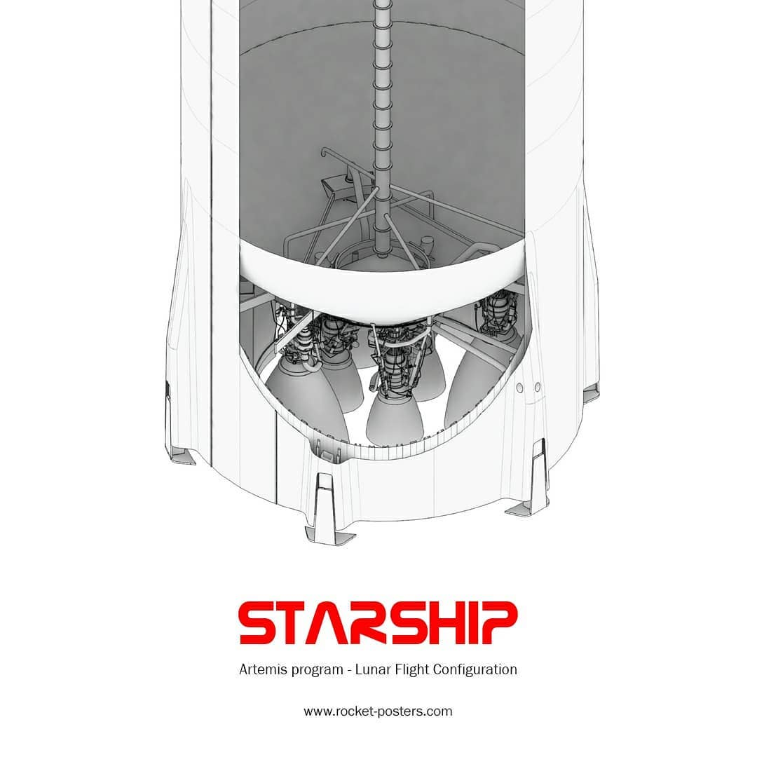 SpaceX's Lunar Starship cutaway diagram by Rocket Posters - bottom