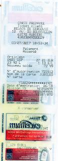 Ticket de caisse payé avec la carte Jubiléo