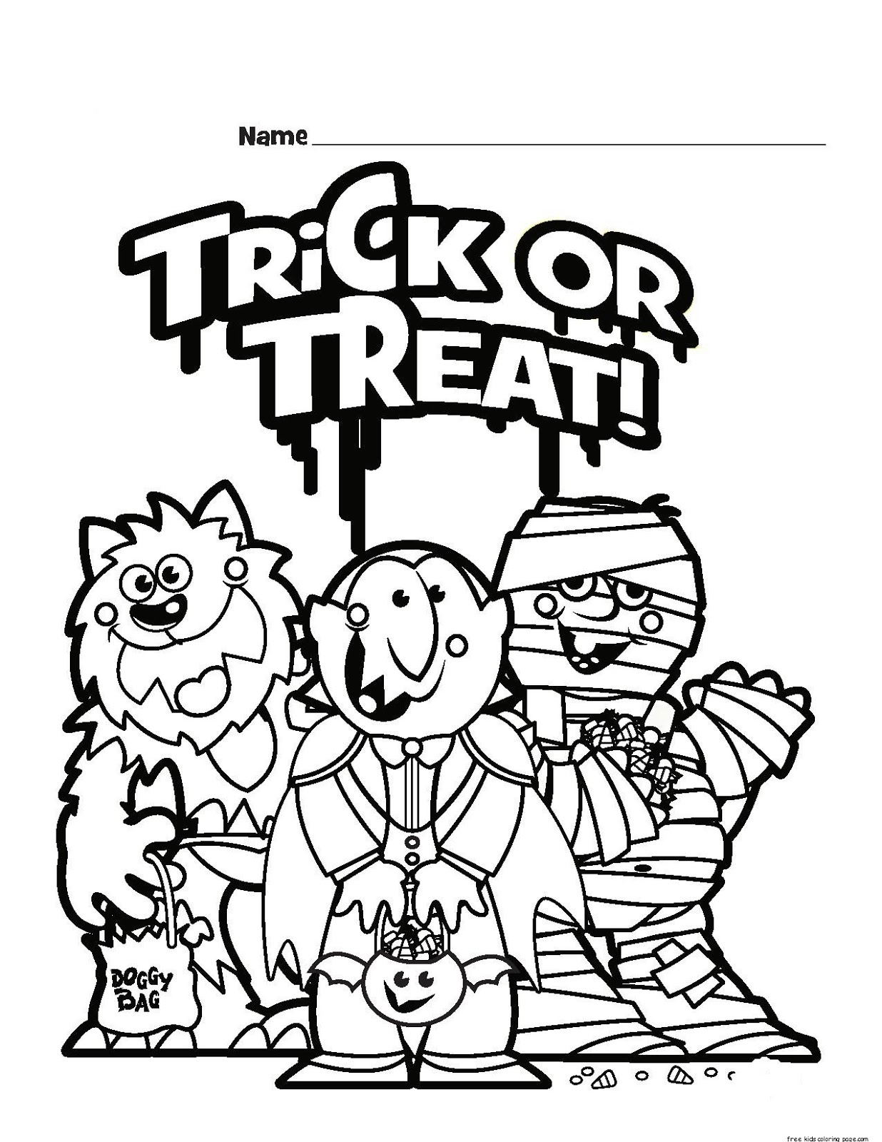 Halloween Trick Or Treat Coloring Pages Printable For
