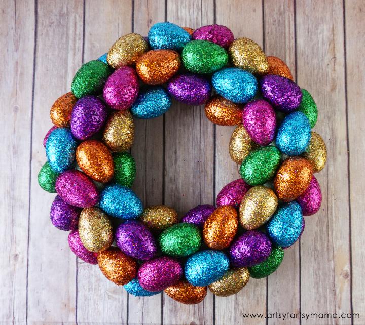 DIY Glittered Easter Egg Wreath