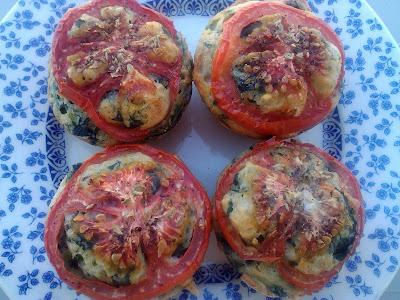 Muffins de espinacas y queso huevos light receta ligera tomate