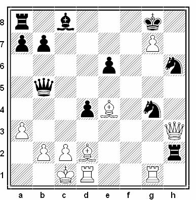 Posición de la partida de ajedrez Vladimir Simagin - Peter Petrov (URSS, 1959)