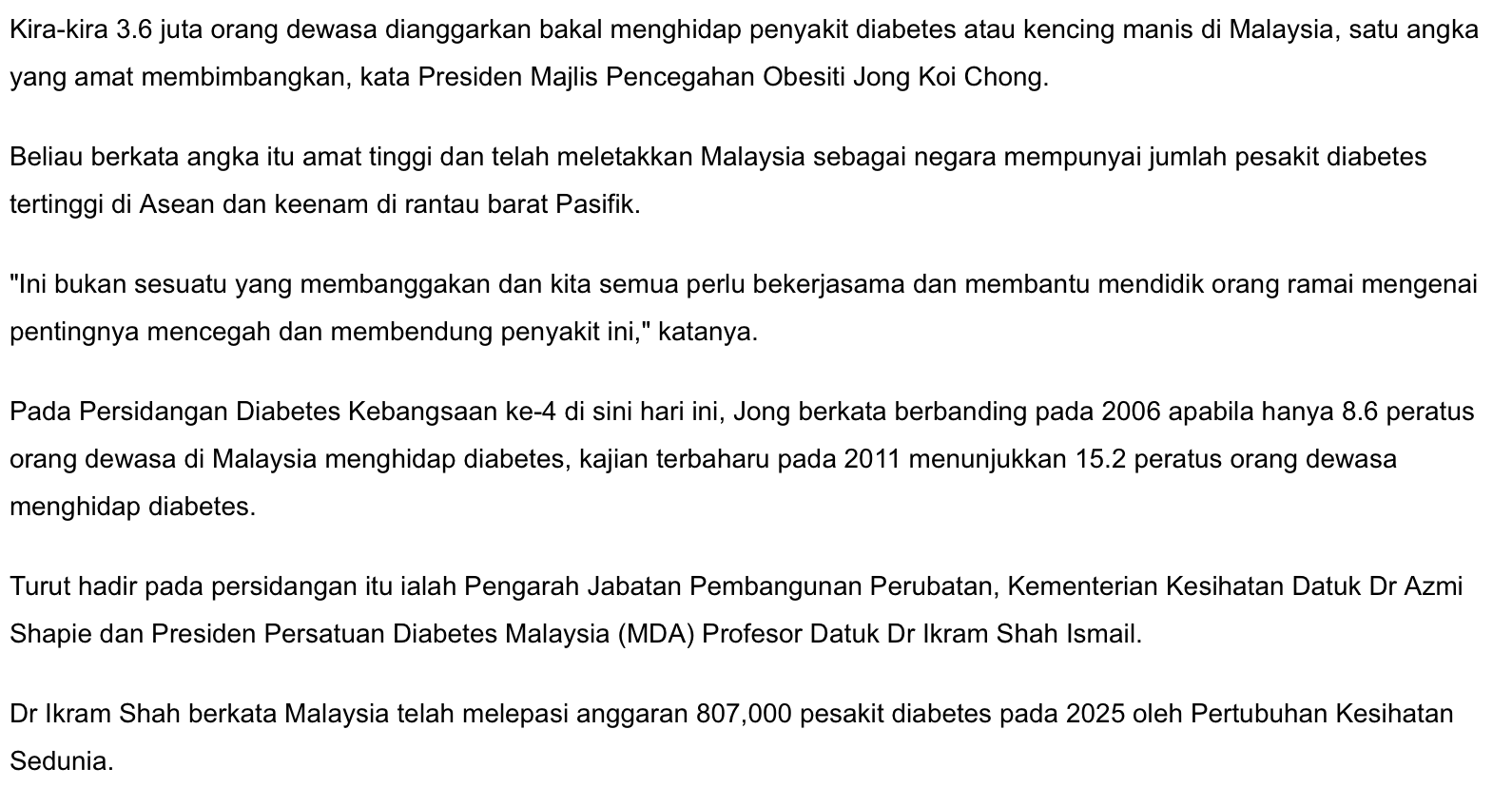 Diabetes Shaklee Miri