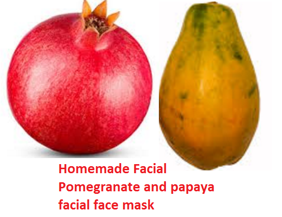 Homemade Facial Pomegranate and papaya facial face mask