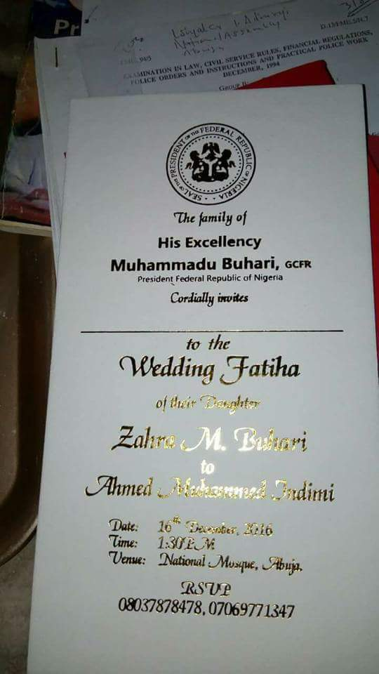 Zahra buhari ahmed indimi wedding invitation card finally out according to the invitation cards the wedding is slated for december 16th 2016 at the national mosque abuja stopboris Image collections