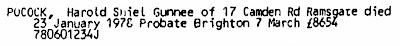 "Ancestry.com, ""National Probate Calendar (Index of Wills and Administrations), 1858-1995,"" database on-line, Ancestry.com(www.ancestry.com : accessed 13 Jul 2019), entry for Harold Shiel Gunnee Pocock, died 23 Jan 1978."
